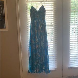 Formal turquoise dress with silver detailing